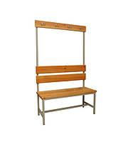 Скамейка СВ-1500 односторонняя, лавочка в раздевалку, металлическая скамейка с вешалкой и крючками