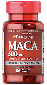 Puritan's Pride Maca 500 mg 60 caps, Мака 500 мг 60 капсул