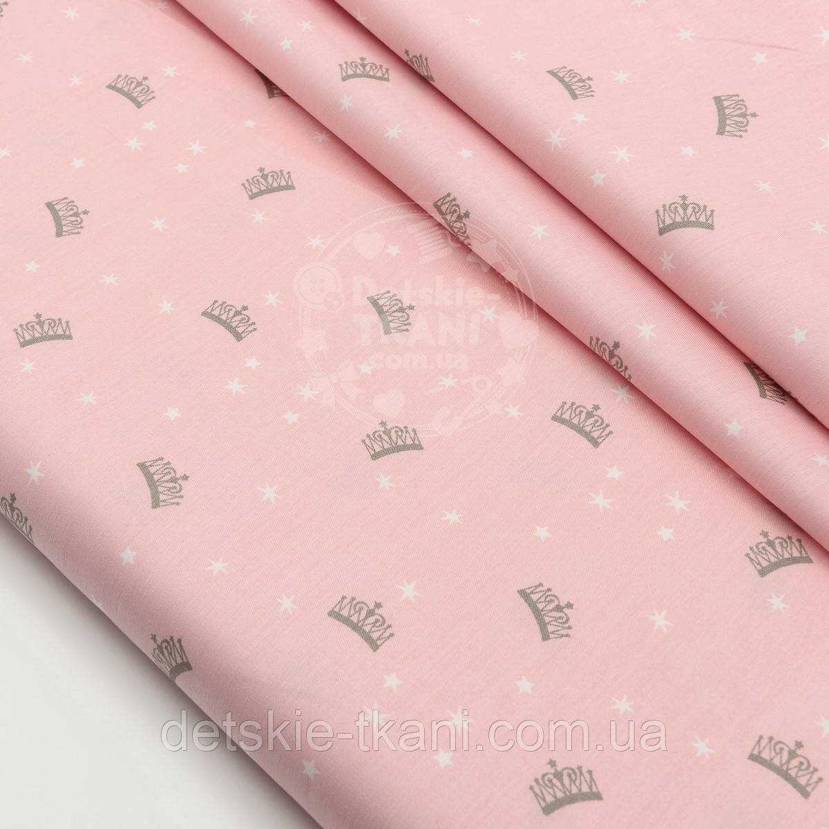 """Сатин ткань """"Маленькие короны и звёздочки"""" на розовом фоне, № 1503с"""