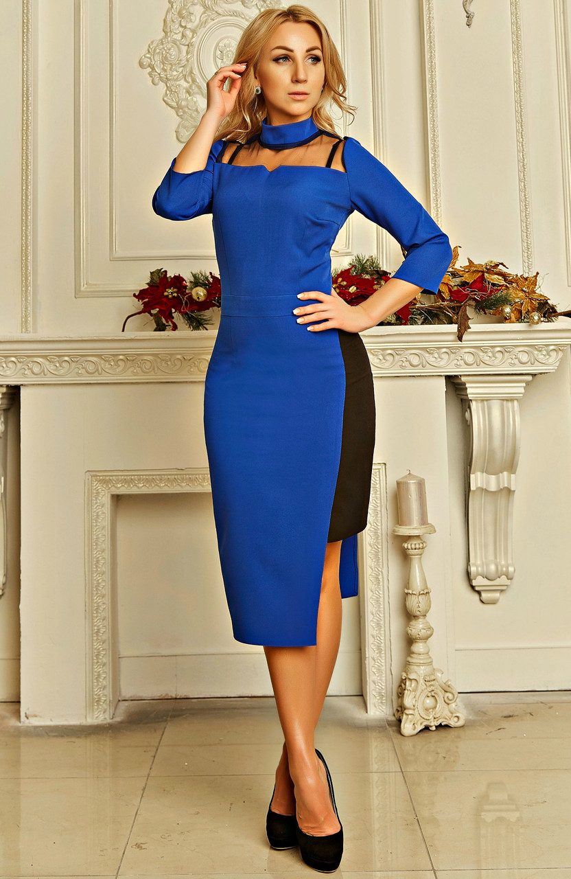 Нарядное ярко-синее платье с сеткой, фото 1