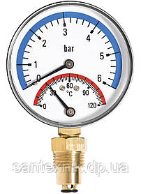 Термоманометр FADO вертикальный (1/2 120°С 6 бар)