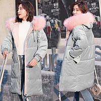 Женский удлиненный зимний бархатный пуховик, парка, куртка серый