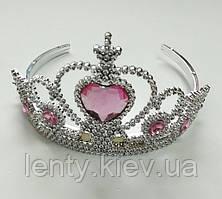 Корона для принцессы пластиковая с камушками для принцессы (разноцветные камушки)- Розовые