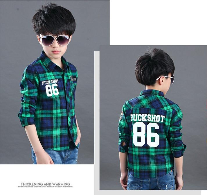 Нарядная рубашка мальчика зеленая в клетку 7-8 лет