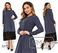 Ангоровое свободное платье миди с кружевом в больших размерах X9704 550, фото 1