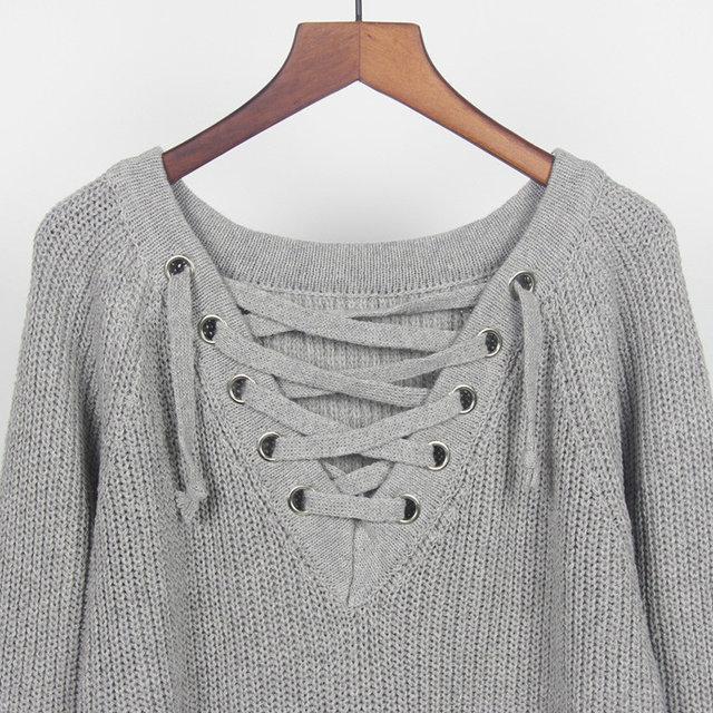 5276772d609 Женский удлинённый свитер с колечками на шнуровке серый   продажа ...