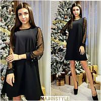 d7d1636a921 Красивое женское платье с рукавами из с сетки с жемчугом