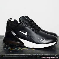 Мужские Зимние кроссовки Nike Air Max 270 Black White, Кожаные