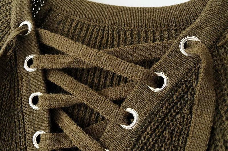 6fdddafd1f8 Женский удлинённый свитер с колечками на шнуровке хаки  продажа ...