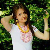 Вышитая футболка мережка с вышивкой на рукаве | Вишита футболка мережка з вишивкою на рукаві, фото 1