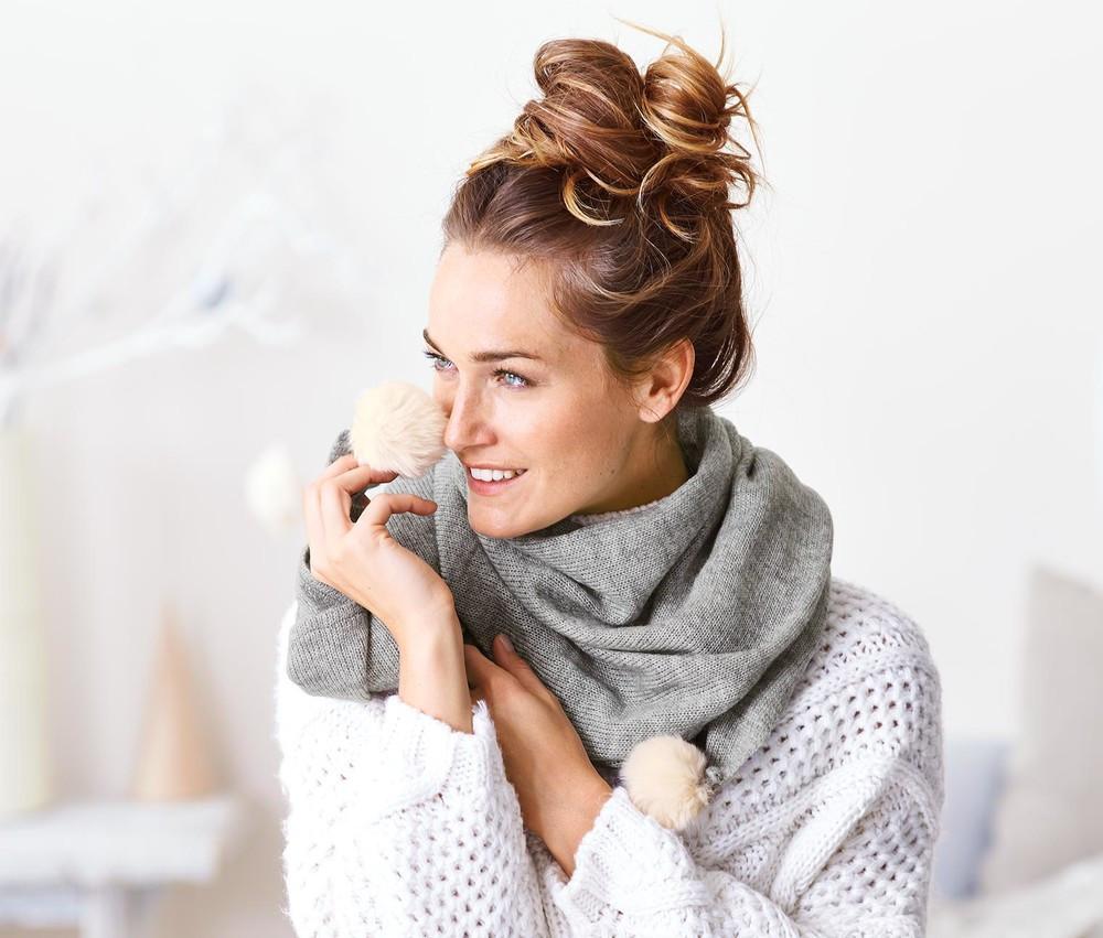 Женский вязанный большой шарф  от немецкого бренда Tсм Tchibo (чибо), Германия