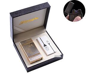 """USB зажигалка в подарочной кожаной коробке """"Орел"""" (Электроимпульсная - две перекрещенные молнии) №4842-1"""