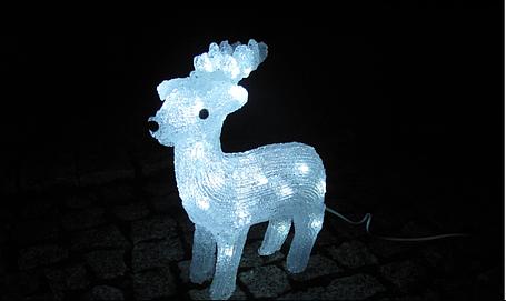 Новогодняя акриловая статуя олененок RENIFER, Светящиеся новогодние олени 30 LED, фото 2