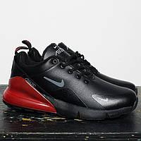 Кроссовки Зимние Мужские  Nike Air Max 270 Black Red (WNTR), Кожаные