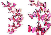 Набор №45 из 12шт декоративных 3-D бабочек, красно-сиреневые