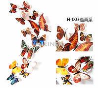 Набор №47 из 12шт декоративных 3-D бабочек разные