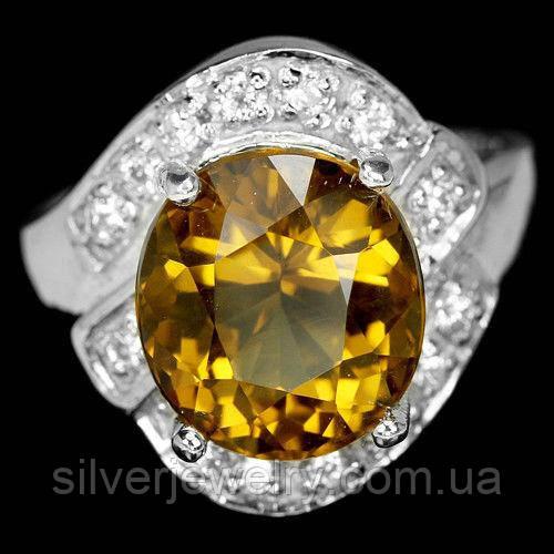 Серебряное кольцо с ЦИТРИНОМ (натуральный), серебро 925 пр. Размер 17