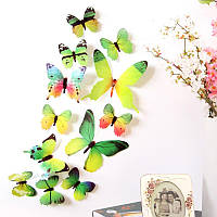 Набор №33 из 12 шт зеленых декоративных 3-D бабочек, без магнита