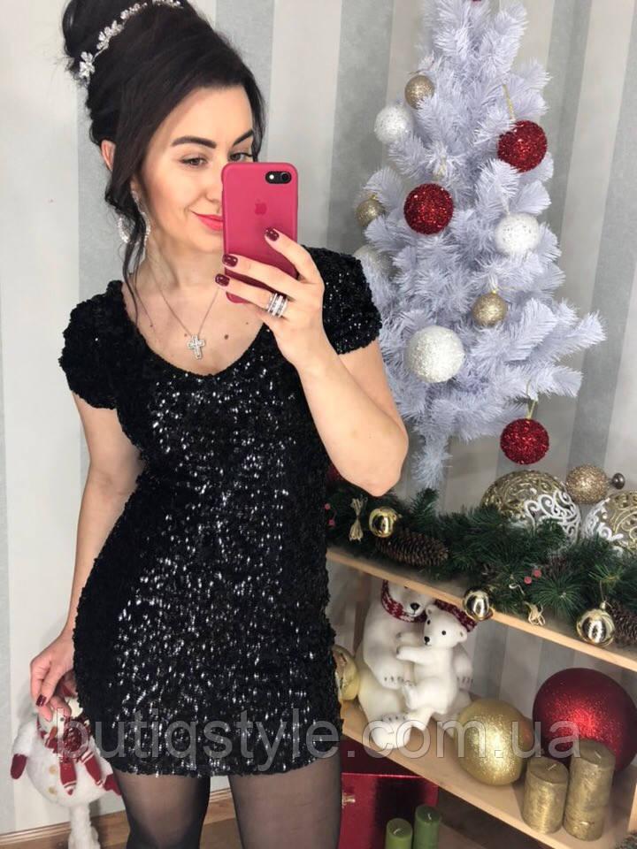 Короткое женское платье пайетки черное, фиолетовое