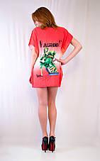 Молодежное платье-туника с принтом на груди, фото 3