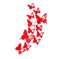 Набор №35 из 12шт декоративных 3-D бабочек красных без магнита