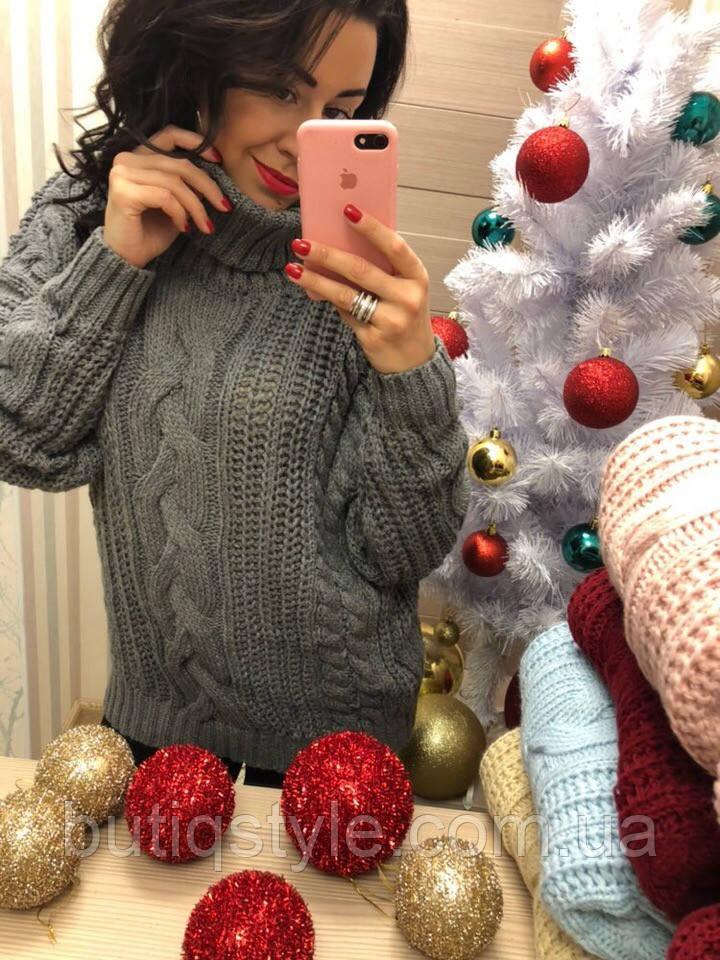 Теплый женский свитер с высоким горлом только серый