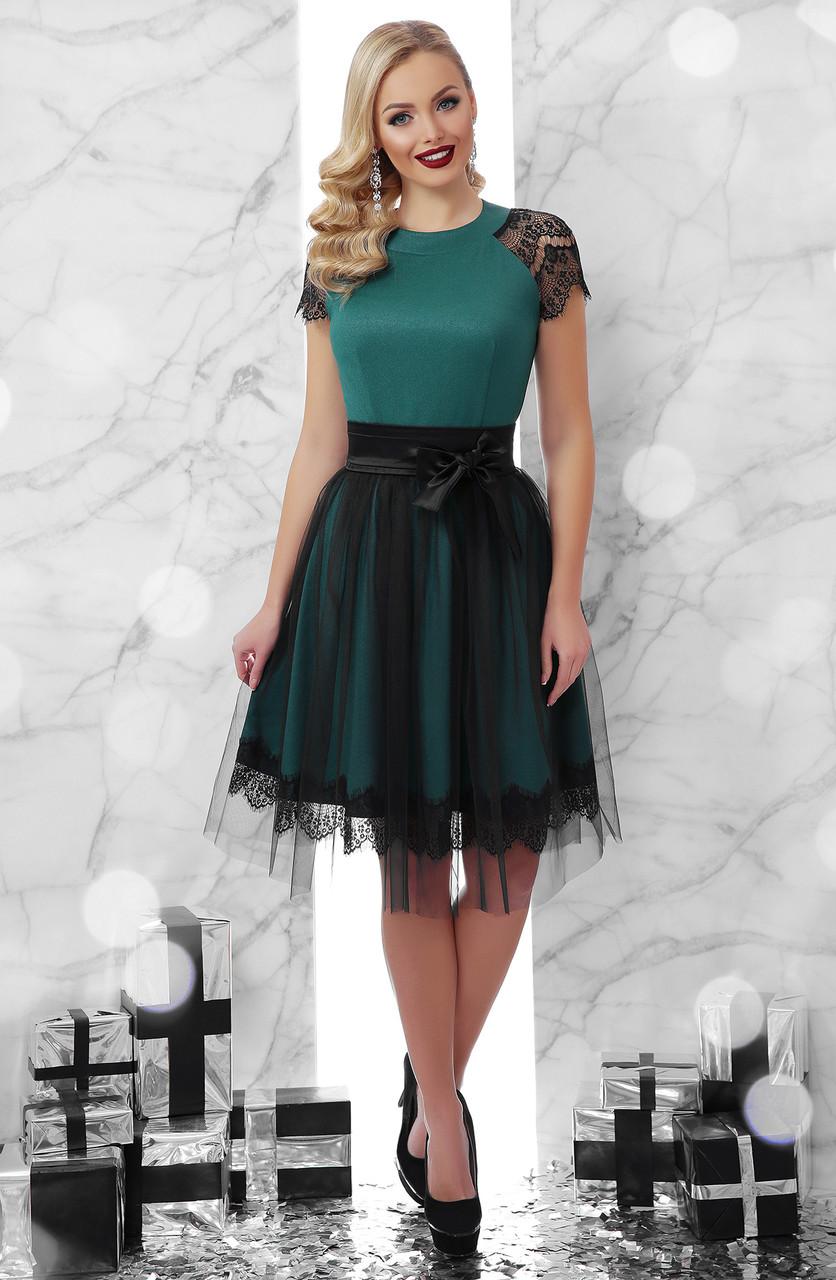 e5dc66ba288 Женское зеленое платье с юбкой из фатина Тиана к р - ИНТЕРНЕТ МАГАЗИН