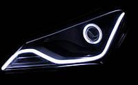 Гибкие трубчатые ходовые огни в фары авто DRL LED, 2шт 45см белые
