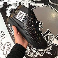 Мужские кожаные зимние ботинк мужская обувь чоловіче зимове взуття чоловічі  черевики FENDI ef4d550ba4e85