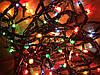 Новогодняя гирлянда 3м, 100LED разноцветная, черный провод