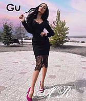 Женское стильное приталенное платье с кружевом, фото 1