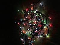 Новорічна гірлянда 6м, 200LЕD різнобарвна, чорний провід