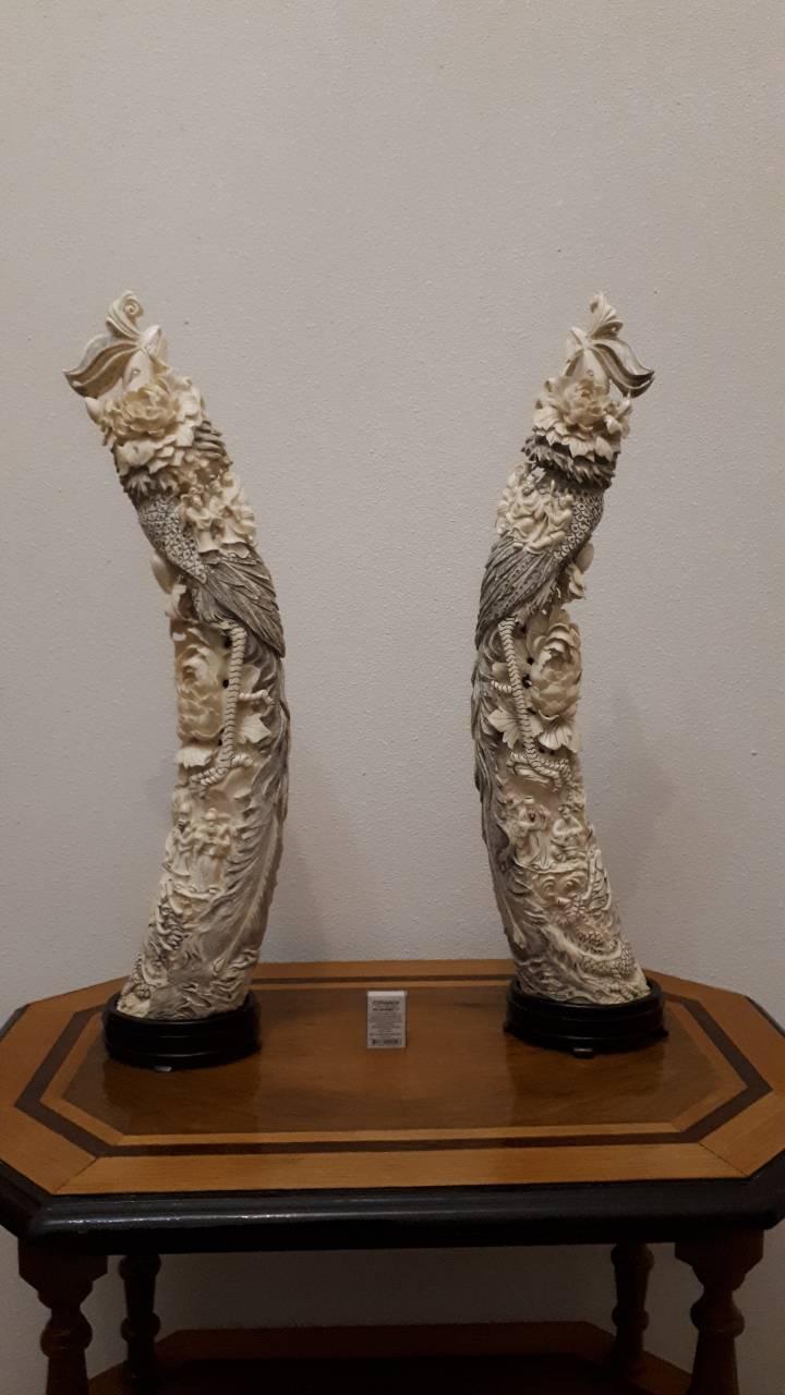 Две статуэтки Феникс  Слоновая кость,Китай, 1950-годы