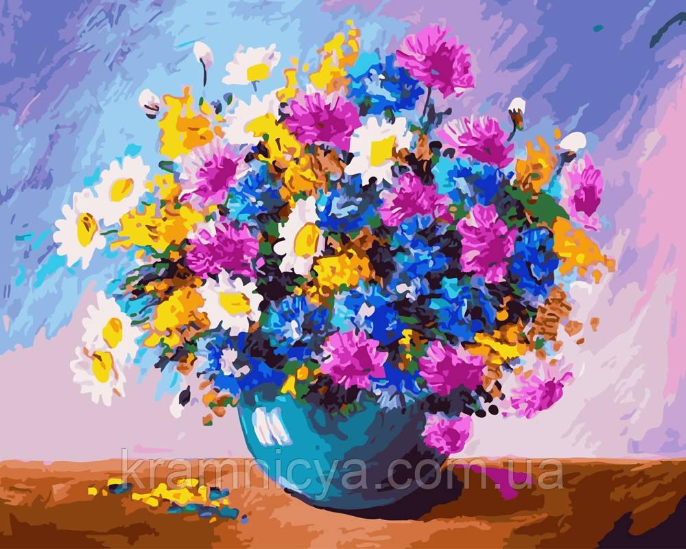 Картина по номерам 40х50 Пышный букет в синей вазе (GX24658)