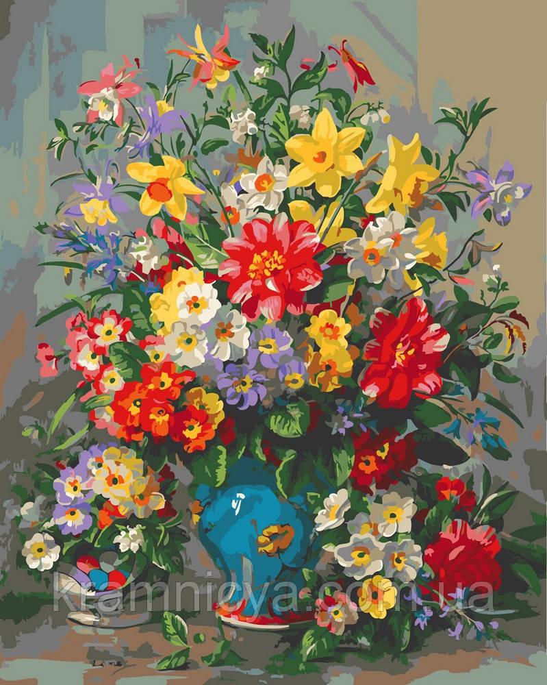 Картина по номерам 40х50 Яркий букет в синей вазе (GX25117)