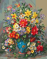 Картина по номерам 40х50 Яркий букет в синей вазе (GX25117), фото 1