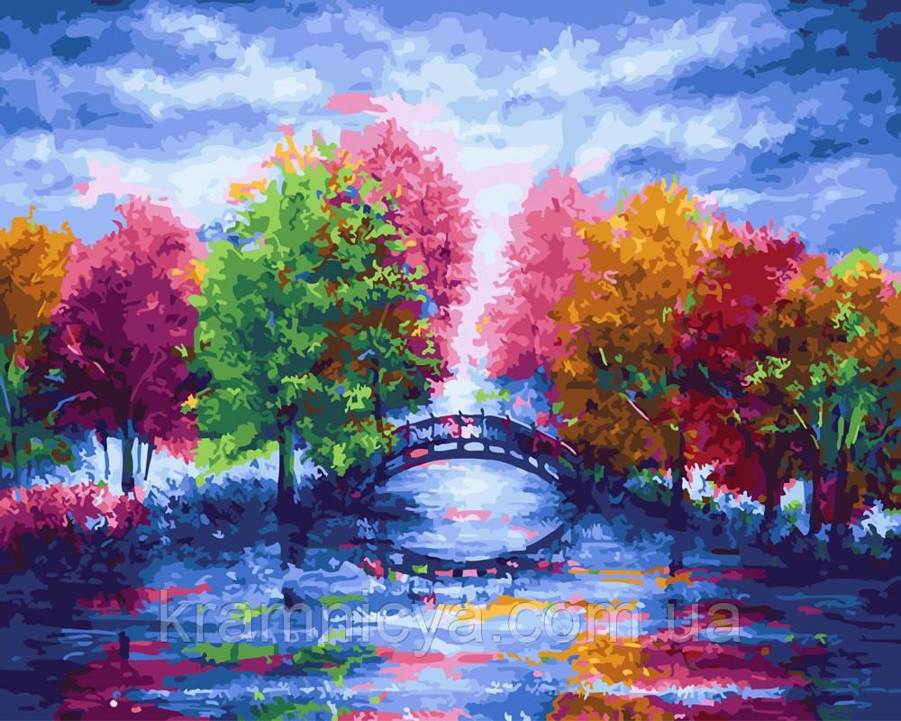 Картина по номерам 40х50 Деревья у мостика (GX25588)