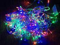 Новогодняя гирлянда 10м, 200LЕD разноцветная(белый провод)