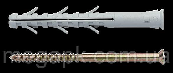 Дюбель APS с шурупом (Китай), крестообразный шлиц (PZ) 8х60мм, нейлон, сталь (уп 100шт)