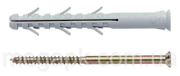 Дюбель APS с шурупом (Китай), крестообразный шлиц (PZ) 8х100мм, нейлон, сталь (уп 100шт)