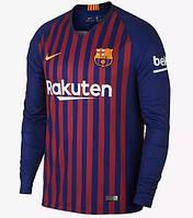 Футбольная форма Барселона с длинным рукавом 18/19 сезона, домашняя, фото 1