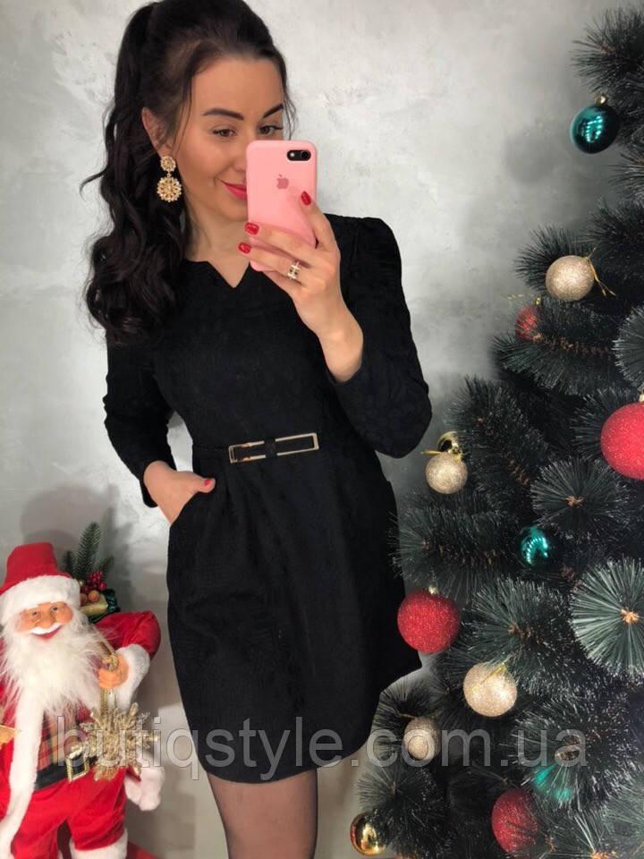 Стильное женское платье жаккард только черное
