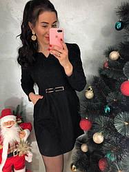 9a0881388d4 Стильное женское платье жаккард только черное