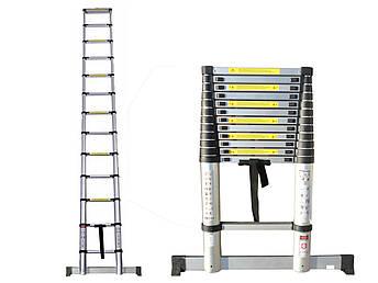 Лестница телескопическая алюминий 3.8 м + стабилизатор, фото 2