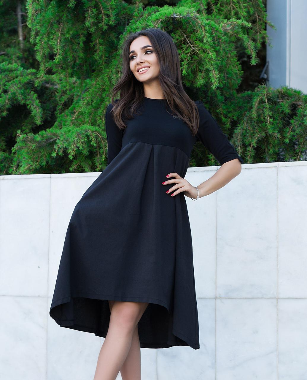 157d3666423 Черное Асимметричное Платье с Узкими Рукавами Три Четверти — в ...