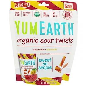 Органические кислые завитушки, Арбузный лимонад, 5 снеков (19,8 г) каждый, YumEarth