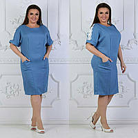 Летнее голубое платье из льна с макраме на плечах батал
