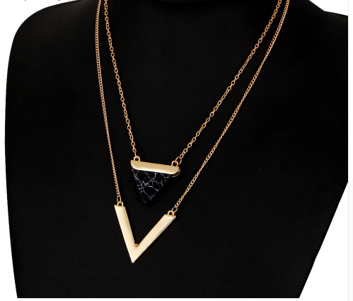 Модный кулон в форме двойного треугольника из ювелирного сплава (код 0092)
