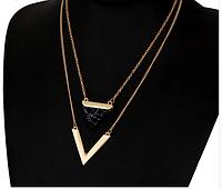 Модный кулон в форме двойного треугольника из ювелирного сплава (код 0092), фото 1