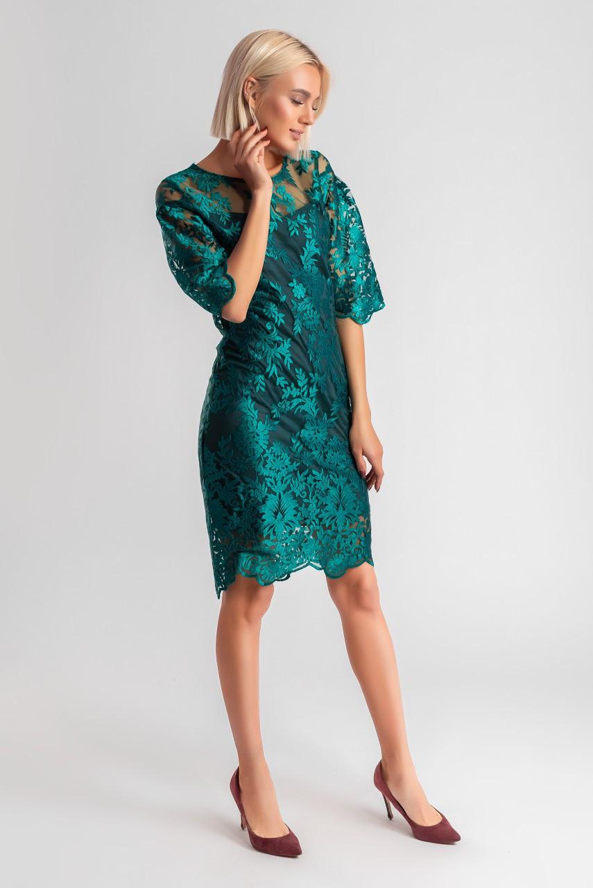 """Облягаюче коктейльне плаття """"Ельміра"""" з четвертним рукавом (5 кольорів)"""